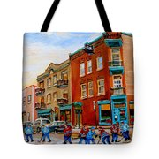 Wilenskys Diner Hockey Game In Progress Tote Bag