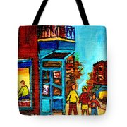 Wilensky's Lunch Counter With School Bus Montreal Street Scene Tote Bag