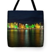 Willemstad And Queen Emma Bridge At Night Tote Bag