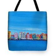 Willemstad Curacao Waterfront In Blue Tote Bag