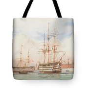 William Edward Atkins H.m.s. Victory And H.m.s. Duke Of Wellington In Portsmouth Harbour With An Ind Tote Bag