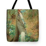 William Henry Margetson, Woman In A Spring Landscape. Tote Bag