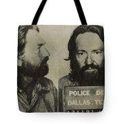 Willie Nelson Mug Shot Horizontal Sepia Tote Bag