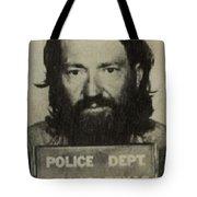Willie Nelson Mug Shot Vertical Sepia Tote Bag