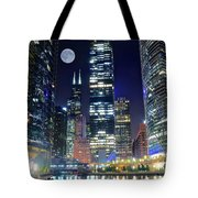 Willis Tower And Moon Tote Bag