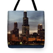 Willis Tower At Dusk Aka Sears Tower Tote Bag