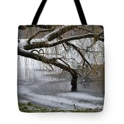 Willow Tree On The Frozen Lake Detail Tote Bag