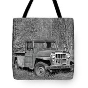 Willys Jeep Pickup Truck Monochrome Tote Bag