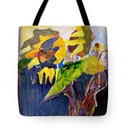 Wind Blown Sunflowers Tote Bag