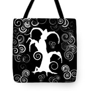 Wind Dancing - White On Black Silhouettes Tote Bag