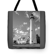 Wind Point Lighthouse And  Old Coast Guard Keepers Quarters.   Black And White Tote Bag