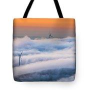 Wind Turbines At Sunrise Tote Bag