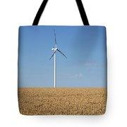 Wind Turbines On Wheat Field Summer Season Tote Bag