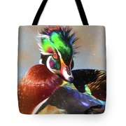Windblown Wood Duck Tote Bag