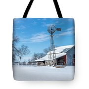 Windmill And Old Barn In Fresh Snow Tote Bag