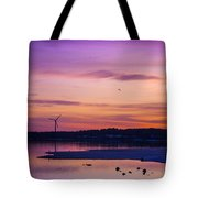 Windmill In The Sunset By The Sea Tote Bag