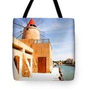 Windmill On Canal - Trapani Salt Flats Tote Bag