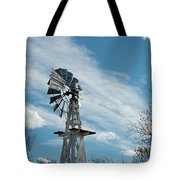 Windmill With White Wood Base Tote Bag