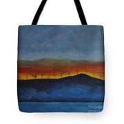 Burney Sunset With Windmills Tote Bag
