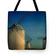 Windmills Under Blue Sky Tote Bag
