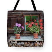 Window And Geraniums Tote Bag