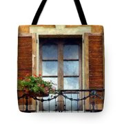 Window Shutters And Flowers I Tote Bag