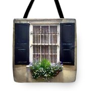 Window Shutters And Flowers II Tote Bag