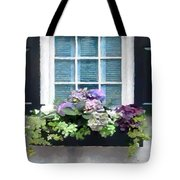 Window Shutters And Flowers Vi Tote Bag