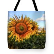 Window To The Sunflower Fields Oil Painting Tote Bag