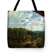Window View From Inside Gila Cliff Dwellings Tote Bag