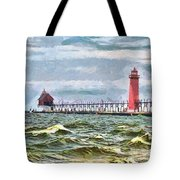 Windy Day At Grand Haven Lighthouse Tote Bag