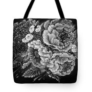 Windy Flowers Black And White Tote Bag