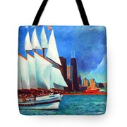 Windy In Chicago Tote Bag