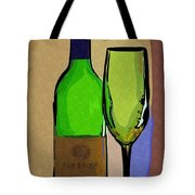 Wine And Glass Tote Bag