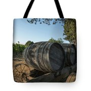 Wine Barrels At Vineyard Tote Bag