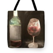 Wine Bottle And Glass Tote Bag