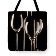 Wine Bottle And Wineglasses Silhouette II Tote Bag by Tom Mc Nemar