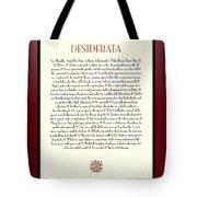 Wine Framed Sunburst Desiderata Poem Tote Bag