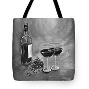 Wine On My Canvas - Black And White - Wine For Two Tote Bag