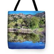 Winery Pond Reflections Tote Bag