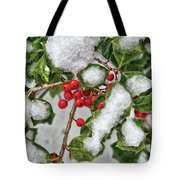 Winter - Ice Coated Holly Tote Bag