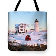 Winter At Nubble Tote Bag by Eric Gendron