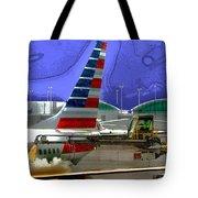 Winter At The Airport Tote Bag