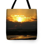 Winter Beach Sunset Tote Bag