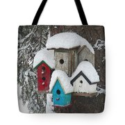 Winter Birdhouses Tote Bag