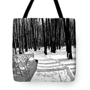 Winter Boardwalk In Black And White Tote Bag