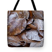 Winter Brown Leaves Powdered With Frost Tote Bag