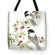 Winter Chickadees And Berries Tote Bag