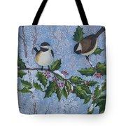 Winter Chickadees Tote Bag