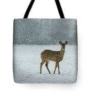 Winter Deer Walk Tote Bag